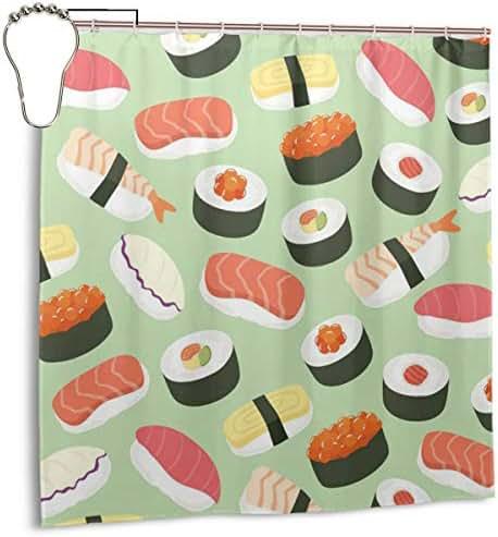 AJNIBREUIX Shower Curtain, Sushi Food Pattern Bath Curtain with Hooks for Master Bathroom, Kid's Bathroom, Guest Bathroom, 72 X 72 Inches