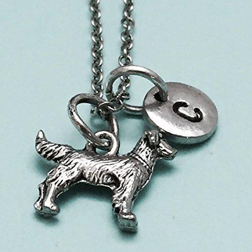 - Golden retriever necklace, golden retriever charm, animal necklace, personalized necklace, initial necklace, initial charm, monogram