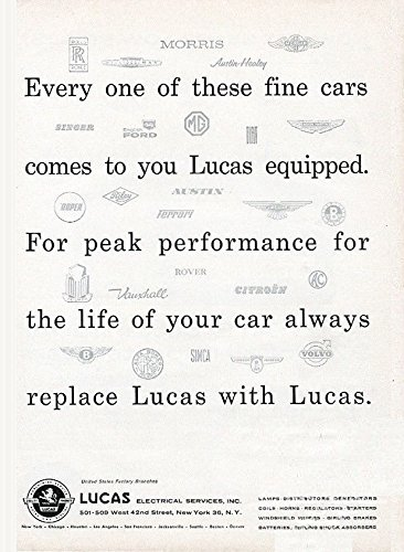 Vintage Ad Car (1960 LUCAS ELECTRICAL EQUIPMENT for IMPORTED CARS