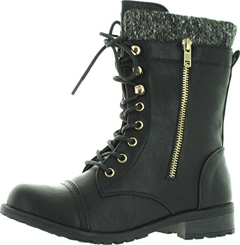 Forever+Link+Womens+Mango-31+Round+Toe+Military+Lace+Up+Knitted+Ankle+Cuff+Low+Heel+Combat+Boots%2CBlack%2C9