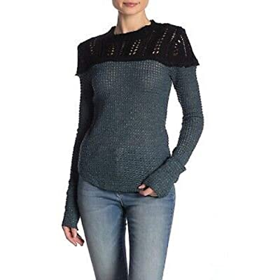 Free People Snowflake Sweater Teal Ocean Combo XL at Amazon Women's Clothing store