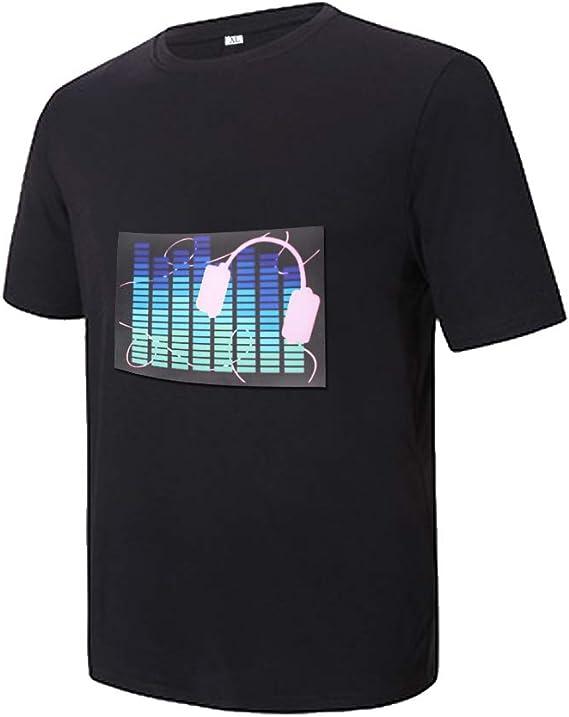 LED intermitente activado por el sonido de la moda de la camiseta de la noche del club de desgaste de la camiseta para hombres y mujeres - Negro - Small: Amazon.es: Ropa
