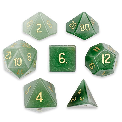 (Wiz Dice Set of 7 Handmade Stone 16mm Polyhedral Dice with Velvet Pouch (Aventurine))