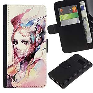APlus Cases // Samsung Galaxy S6 SM-G920 // Chica moda acuarela arte diseño ropa // Cuero PU Delgado caso Billetera cubierta Shell Armor Funda Case Cover Wallet Credit Card