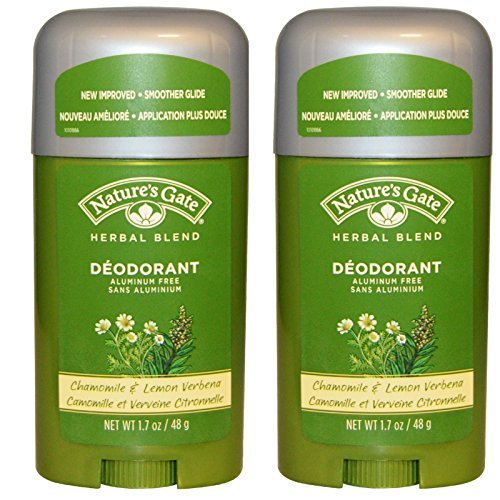Nature's Gate Herbal Blend Chamomile and Lemon Verbena Deodorant (Pack of 2) With Cucumber Seed Extract and Lemon Myrtle Leaf Oil, 1.7 oz Each - Lemon Verbena Natures Gate