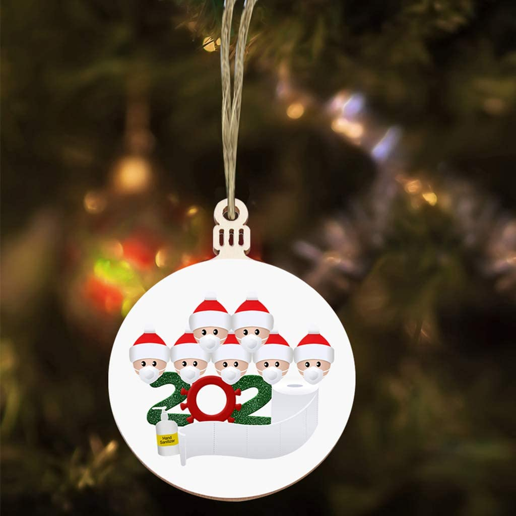 2Pcs, Tag Family of 2 Christmas Tree Ornament 2020 Quarantine Survivor Family Customized Christmas Decorating Set Christmas Party Decoration Gift Product Personalized 1-7 Family Members