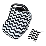 Premium 6 in 1 Car Seat Cover, Baby Car seat Canopy,Nursing Cover Nursing Scarf, Shopping Cart Covers Grocery Trolley Cover,High Chair Cover,Unisex Carseat Cover Canopy Perfect Gift Black Chevron