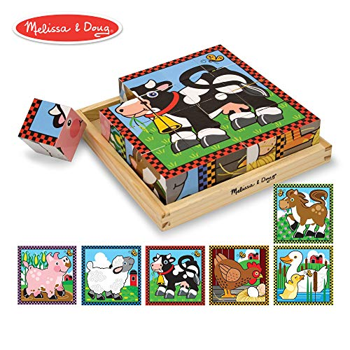 Farm Blocks - Melissa & Doug Farm Cube Puzzle, Preschool Kids, Six Puzzles in One, Sturdy Wooden Construction, 16 Cubes and Wooden Tray, 8