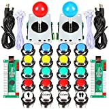 Fosiya 2 Player Arcade Joystick LED Chrome Buttons for PC Arcade Gamepads & Standard Controllers DIY Games MAME Kit (Chrome Mixed Color Buttons) (Color: Chrome Mixed Color Buttons)