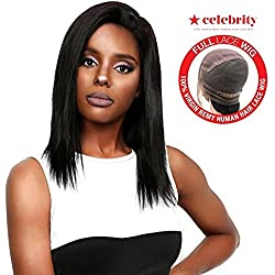 """Celebrity 100% Virgin Remi Human Hair Hand Made Full Lace Wig Straight 16"""" (NATURAL)"""