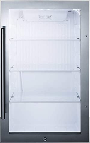 Summit Appliance SPR489OSCSS Commercially Approved Shallow Depth Indoor/Outdoor Beverage Cooler for Built-in or Freestanding Use with Stainless Steel Cabinet, Glass Door, Auto Defrost
