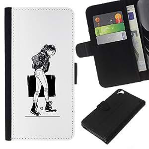 LECELL--Cuero de la tarjeta la carpeta del tirón Smartphone Slots Protección Holder For HTC Desire 820 -- Caminando Girl - B & W --