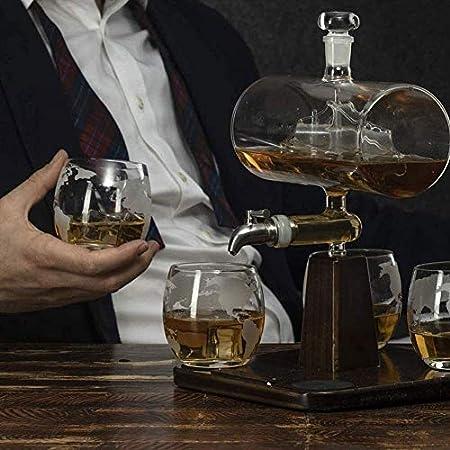Botella de Whisky Con Vaso Gafas De Whisky Decanter Conjunto De 4 Piedras De Whisky Y Conjunto De Regalo De Vidrio Decanter Set Crystal Decanter Barras Decanter Decantadores De Vino Y Jarrafas Whisky