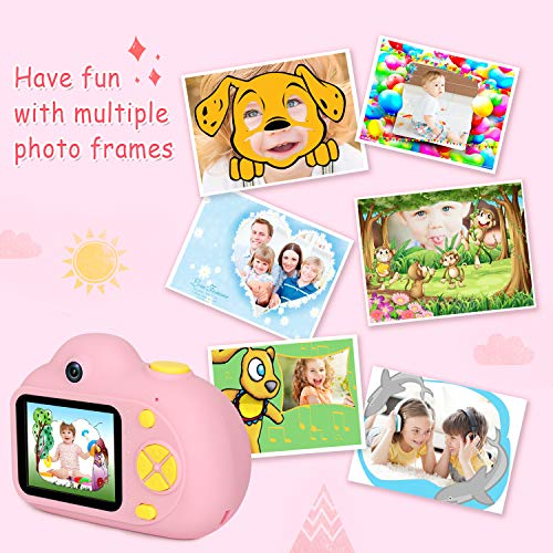 "Kids Camera Gifts for Girls 1080P HD,Mini Rechargeable Children Shockproof Digital Front and Rear Selfie Camera Child Camcorder for 3-9 Year Old Kids Gifts waterproof 2.0"" LCD Screen (Pink) by LeaderPro (Image #4)"
