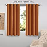 Burnt Orange Curtains FlamingoP Solid Grommet top Thermal Insulated Window Blackout Curtain for Bedroom, 63 by 52 inch, Burnt Orange (1 panel)