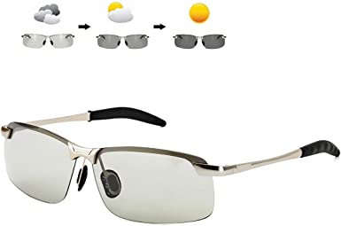 Men/'s Photochromique Lunettes de soleil polarisées pour la conduite Cadre Rectangulaire avec 100/%