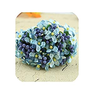 144PCS Mini Fabric Cherry Plum Blossom Artificial Flower Silk Baby Breath Floral Bouquet Wedding Decorations Fake Flowers,8 9