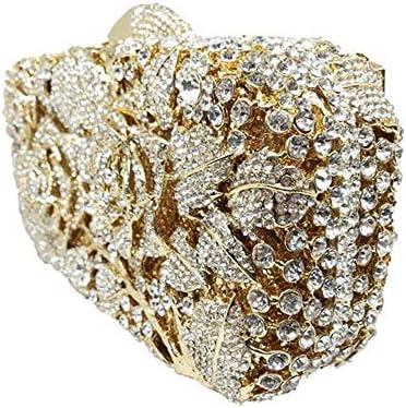 よくできた女性の高級バラの花の広場中空パーティーパーティーディナーバッグクラッチバッグチェーンショルダーバッグホリデーギフト結婚式花嫁介添人ドレスクラッチバッグ財布 美しいファッション (色 : Gold)