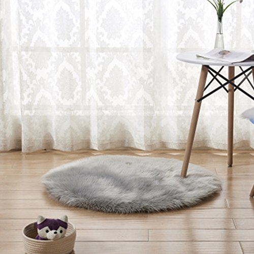 bbpawing Soft Plush Round Carpet Mat Artificial Wool Warm Hairy Carpet Home Decorator by bbpawing