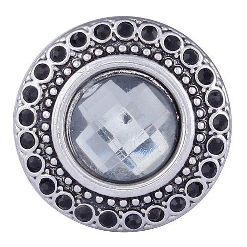 Morella Bouton-pression avec perle blanche et pierres de zircone noires