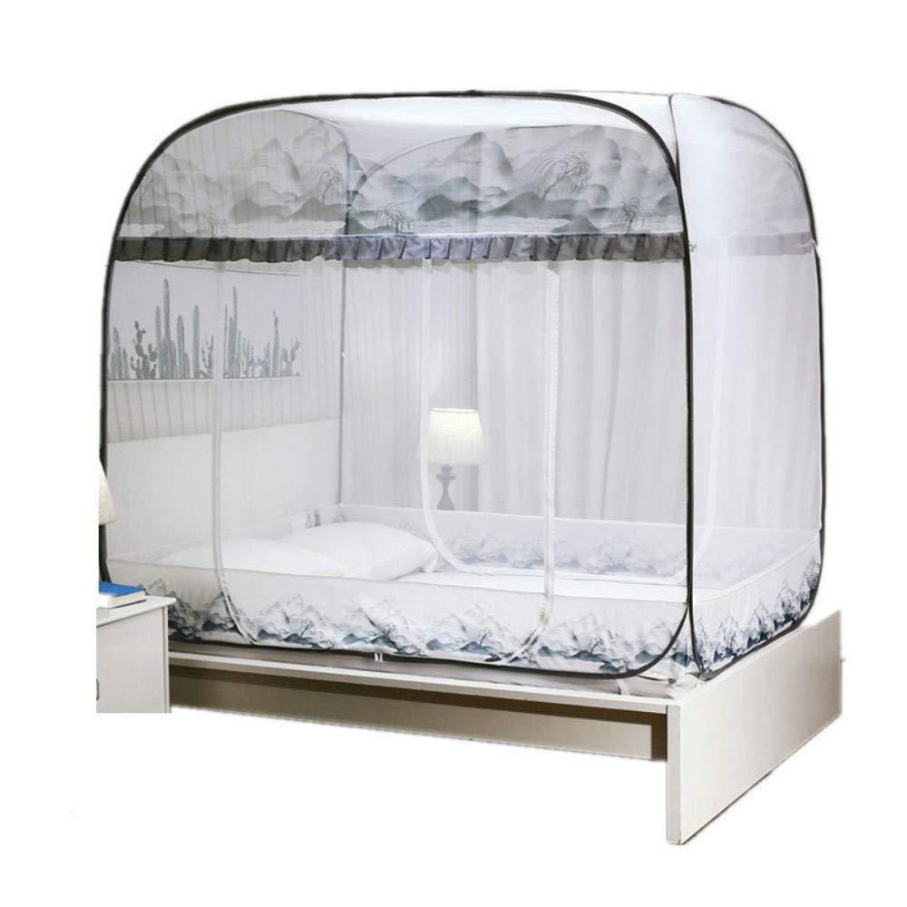 MINGXIO Mosquito net Three Open Door Heightening top Zipper Wire Folding, Gray 180x200cm