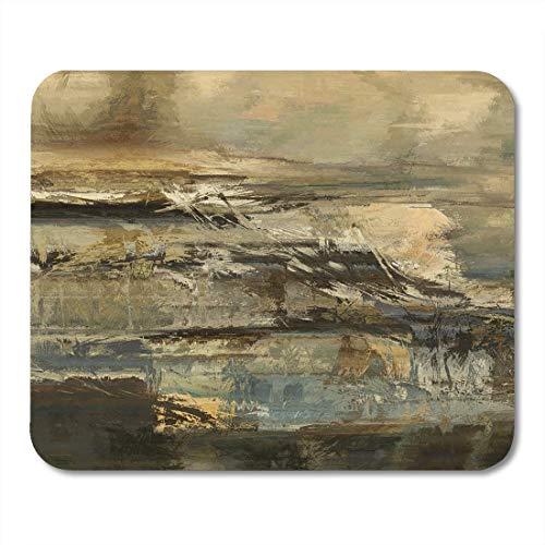 Mouse Pads Colorful Wall Abstract Acrylic in Beige Old Gold Brown Black and Light Blue Green Colors Digital Bad Mouse Pad for notebooks,Desktop Computers mats Office Supplies -