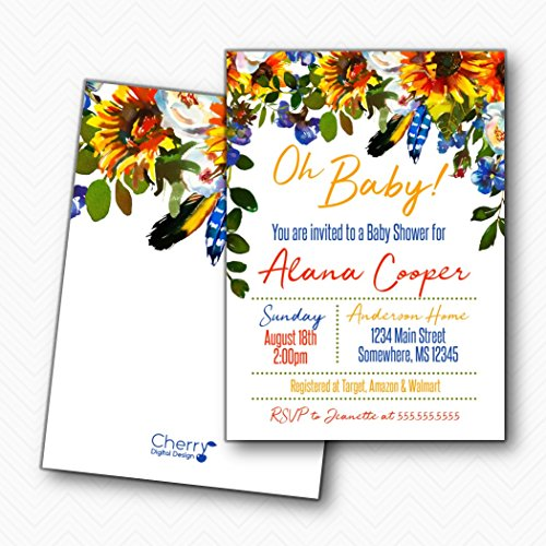 Oh Baby Boho Sunflower Floral Baby Shower Invitation | Envelopes Included