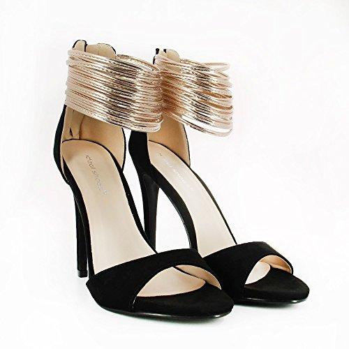 Ideal Shoes Glitzerschuh Effekt Wildleder mit Multi Brides Perlmutt Macie Schwarz