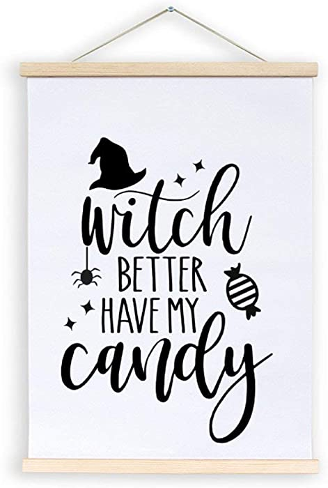 No Brands Wood Frame Magnetic Poster Hanger-Wooden Magnet Print Posters-Witch Better Have My Candy Artwork Art Print Wall Hanging-Decor for Home Office-12×16Inches