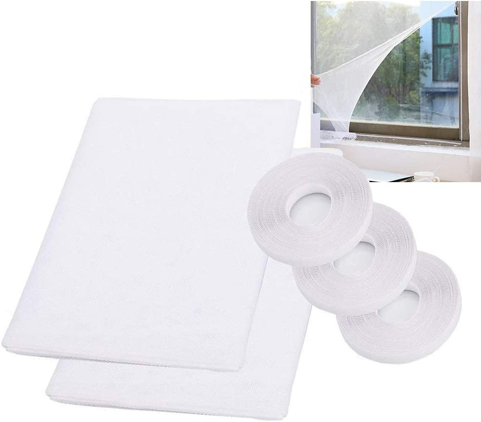 3 Pack Insect Screen Net Fly Window Screen Mesh Bug Bee Mosquito Protector with 3 Rolls Tapes Mosquito Nets for Window