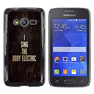 LECELL--Funda protectora / Cubierta / Piel For Samsung Galaxy Ace 4 G313 SM-G313F -- Music Electric Gold Text Motivational --