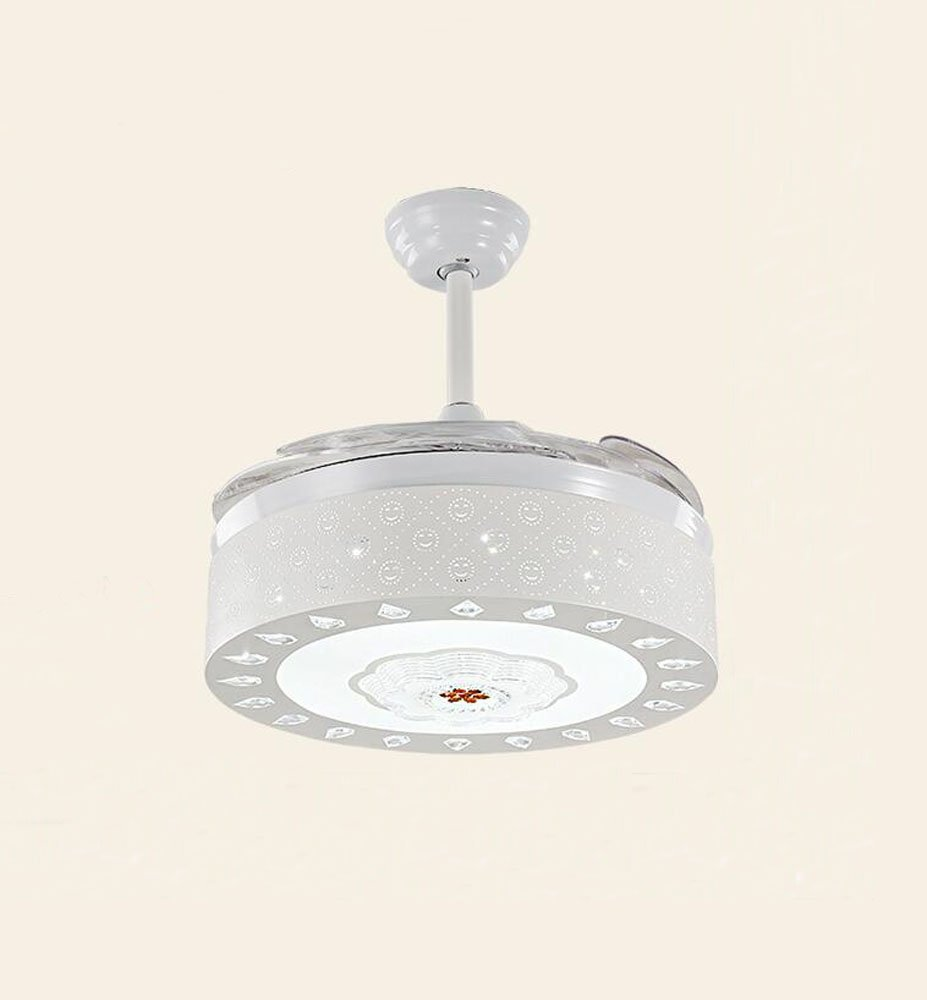 Huston Fan White Remote Control 42 Inch Simple Stealth Ceiling Fan Lights Dining Room Telescopic With LED Modern Household Ceiling Lamp Children 's Living Room Chandeliers With 4 Transparent Blades