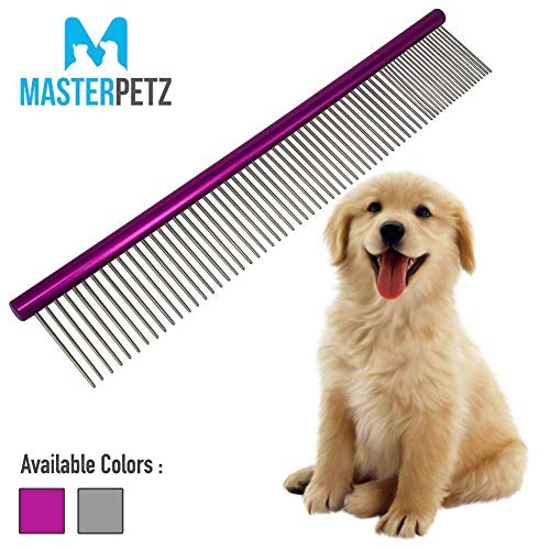 MASTERPETZ Pet Comb, 10 inches Comfortable Grooming Comb with Different-Spaced Rounded Stainless Steel Teeth, Easy Grip and Convenient Grooming for Pets Dog Cat with Medium Coarse Fur – Purple