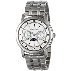 Romanson Men's TM2616FM1WAS2W Classic Three Hand Quartz Moon Phase, Day and Date Functions Watch