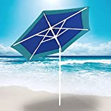 AMMSUN 6 Panels 7ft Polyester Fabric Heavy Duty Air-Vent UV Protection Patio Umbrella Beach Umbrella with Zinc Tilt Dark Green Review