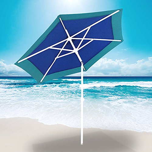 Cheap AMMSUN 6 Panels 7ft Polyester Fabric Heavy Duty Air-Vent UV Protection Patio Umbrella Beach Umbrella with Zinc Tilt Dark Green