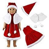Barwa 3 Pcs Christmas Clothes Set Dress Outfits with 1 Hat and 1 Cloak for 18 Inch American Girl Doll Xmas Gift