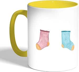 Printed Coffee Mug, Yellow Color, Baby socks
