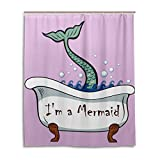 My Little Nest Cartoon I'm a Mermaid Pink Shower Curtain For Bathroom Waterproof Fabric Home Decor 60 x 72 inches