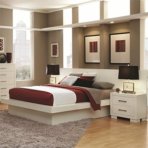 BOWERY HILL King Platform Bed with Rail Seating and Lights i