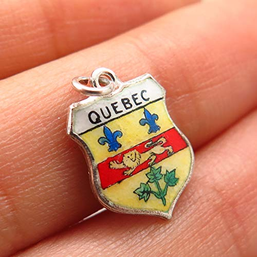 925 Sterling Vintage Fritz Reu & Co. Enamel Quebec Coat of Arms Charm Pendant Jewelry Making Supply by Wholesale Charms