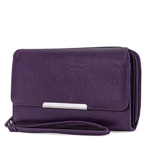 Price comparison product image MUNDI Big Fat Womens RFID Blocking Wallet Clutch Organizer Removable Wristlet ((Purple))