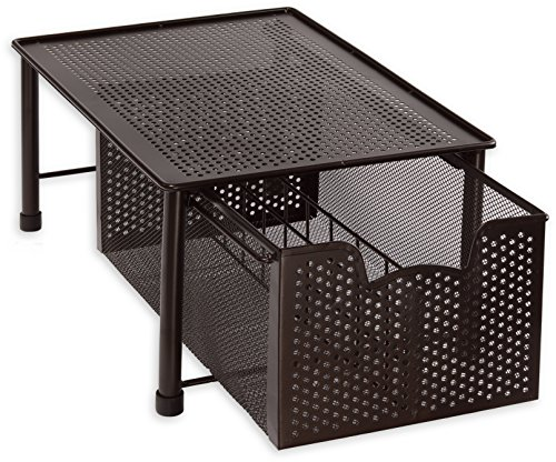 Simple Houseware Stackable Cabinet Basket Drawer Organizer, Bronze