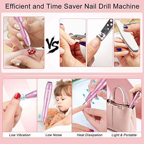COSITTE Electric Nail Drill, USB Electric Nail Drill Machine for Acrylic Nails, Portable Electrical Nail File Polishing Tool Manicure Pedicure Efile Nail Supplies for Home and Salon Use, Pink
