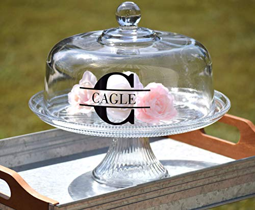 Personalized Glass Cake Stand - Cake Dome - Personalized Cake Stand with Dome - Bridal Shower Gift Custom Cake Stand Personalized Cake Stand