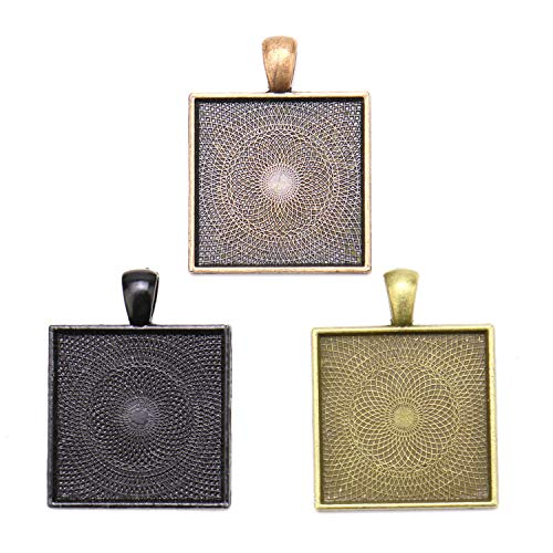 - JETEHO Set of 12 Square Pendant Trays - 3 Color - 25mm Alloy Pendant Blanks Cameo Bezel Settings Photo Jewelry for Custom Jewelry Making(Bronze, Black and Copper)