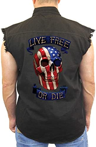 SHORE TRENDZ Men`s Sleeveless Denim Shirt USA Flag Skull Live Free or Die Biker