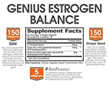 Genius Estrogen Balance - DIM Supplement w/Grape Seed Extract, Dual Estrogen Blocker for Men & Hormone Balance for Women - Aromatase Inhibitor - Cortisol Manager & Thyroid Support, 30 Veggie Pills