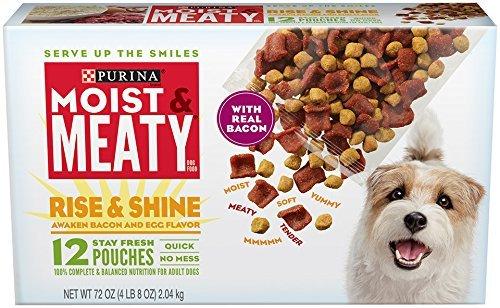 Purina Moist & Meaty Dog Food, Rise & Shine Awaken Bacon & Egg Flavor, 72-Ounce Box by Purina Moist & Meaty (Rise Pouch)
