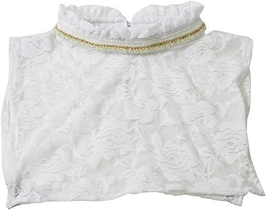 White Lace Floral False Necklace Choker Collar Detachable Half Shirt Blouse